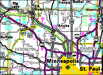 Minnesota state map zoomed in