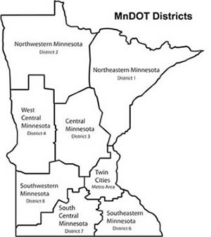 An graphic of Minnesota with outlines showing MnDOT's eight districts.