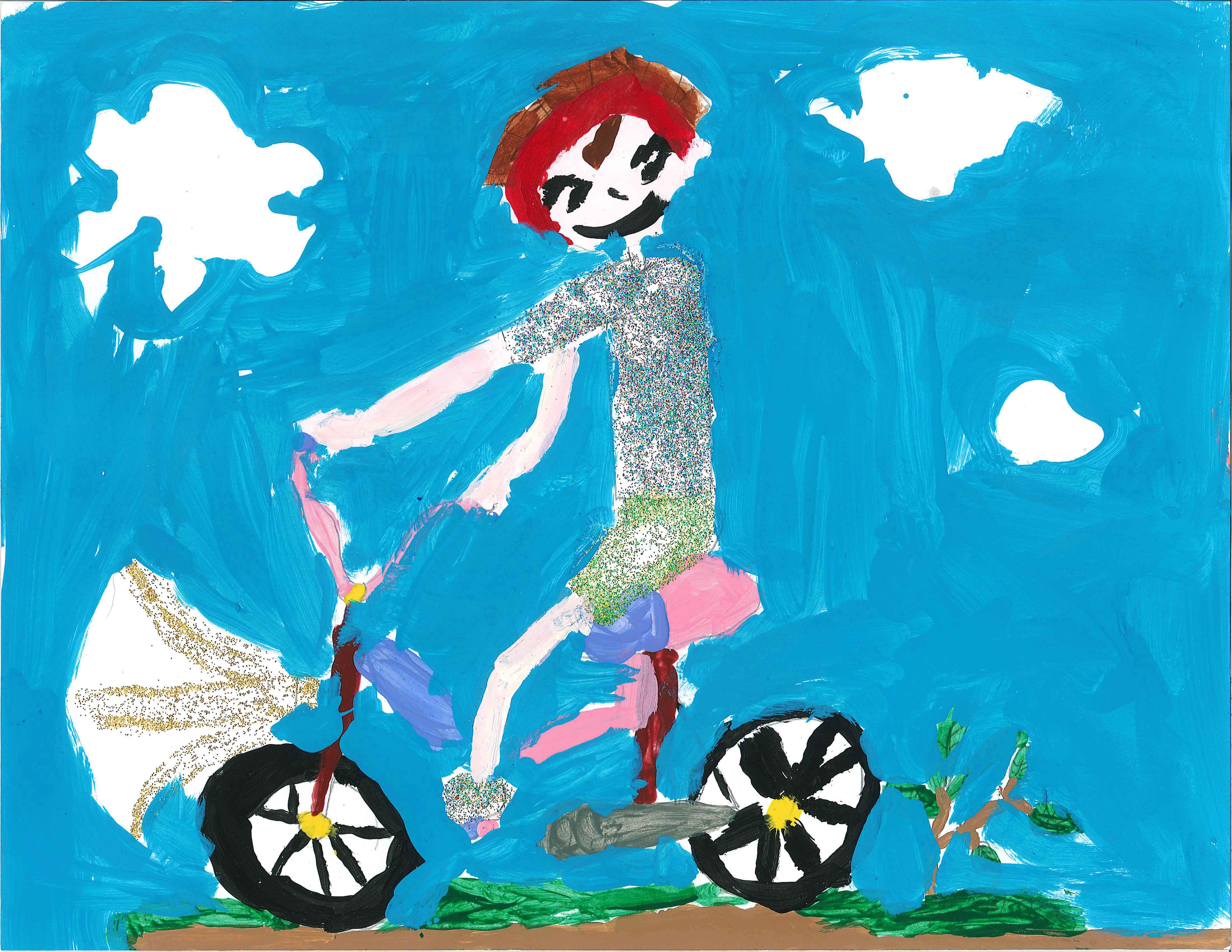 Painting of girl riding a bike with a light.