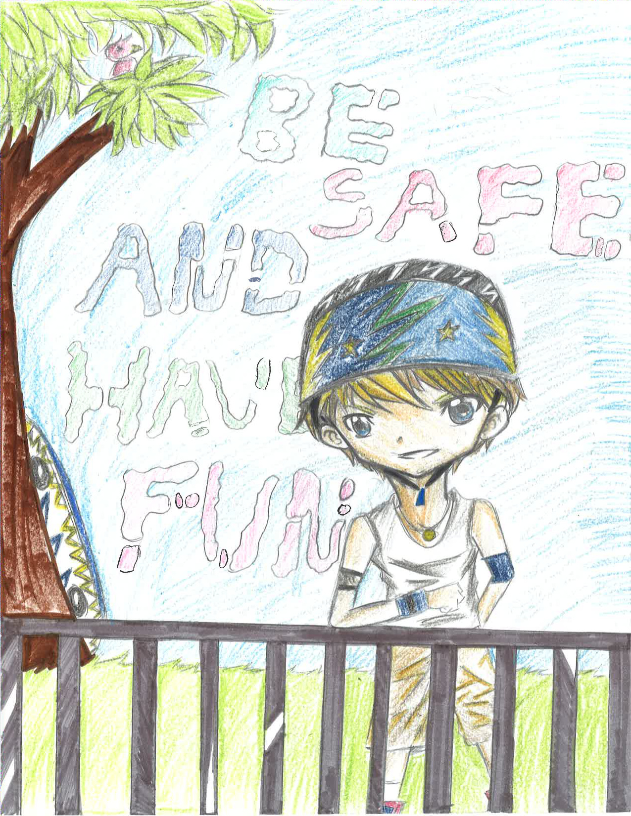 Boy saying be safe and have fun