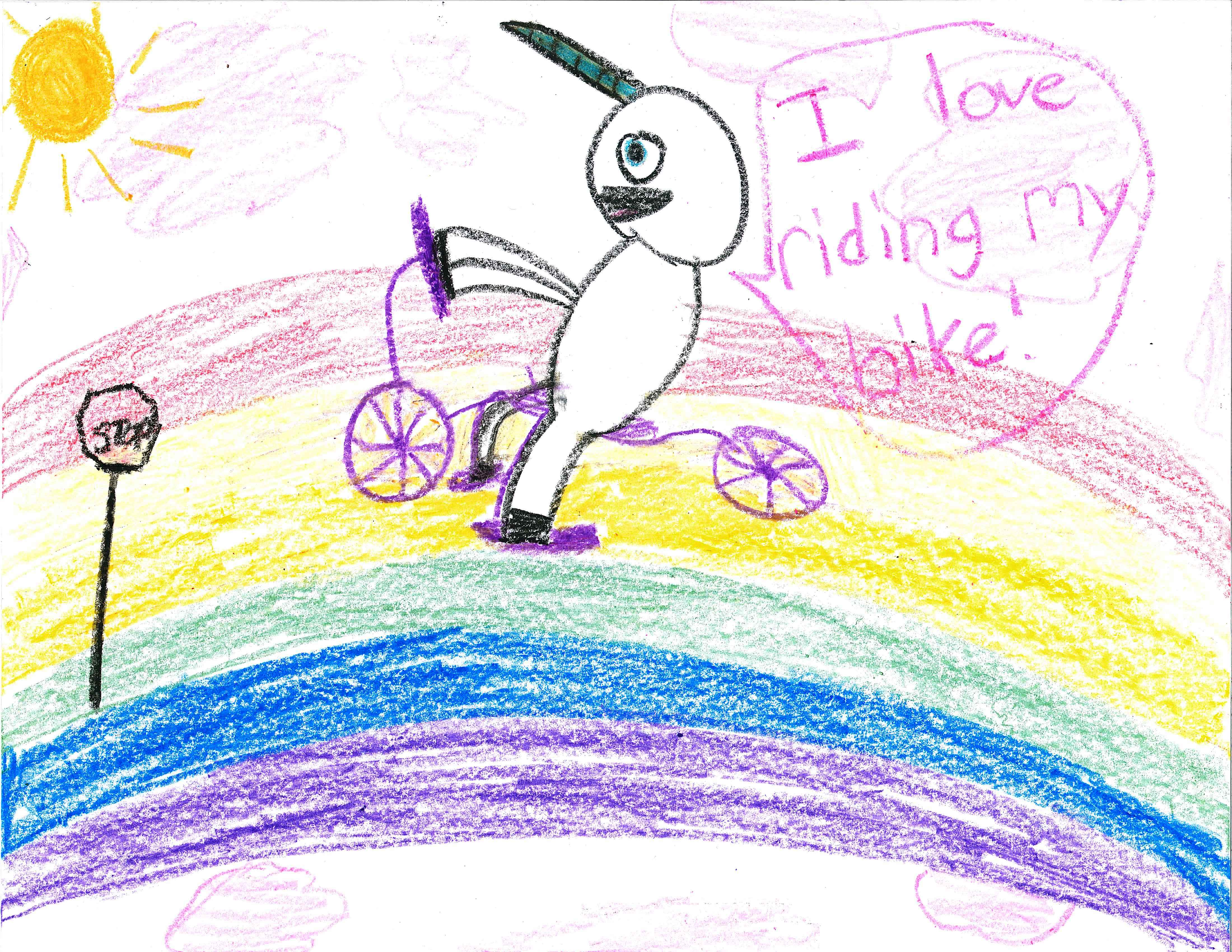 "Unicorn riding bicycle on a rainbow. It says ""I love riding my bike!""."