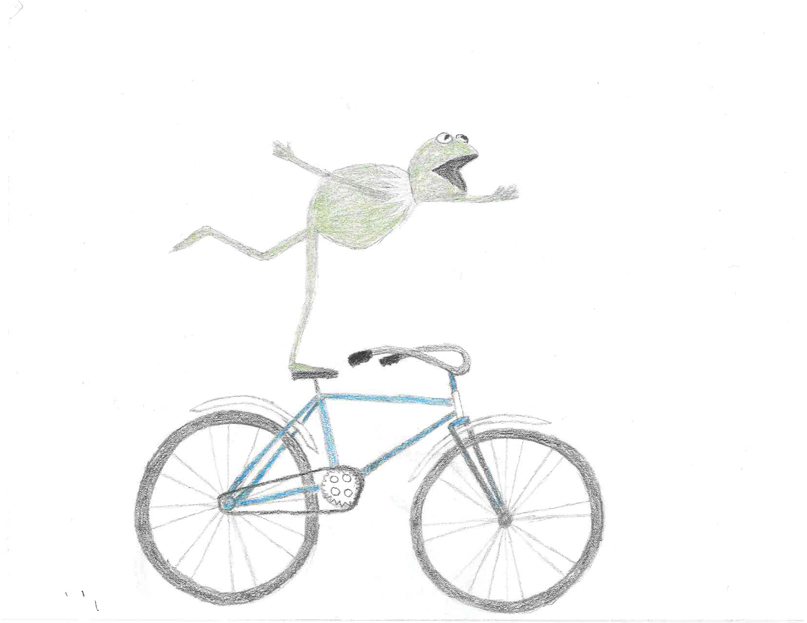 image of kermit the frong riding bicycle
