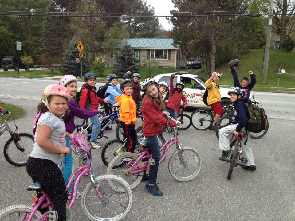 A group of children on bikes