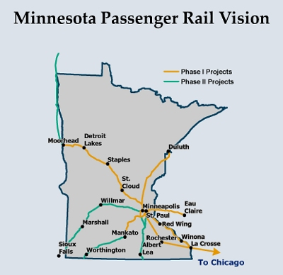 Passenger Rail In Minnesota Future Service - Us map of commuter railroads