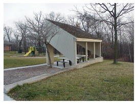 image of straight river rest area