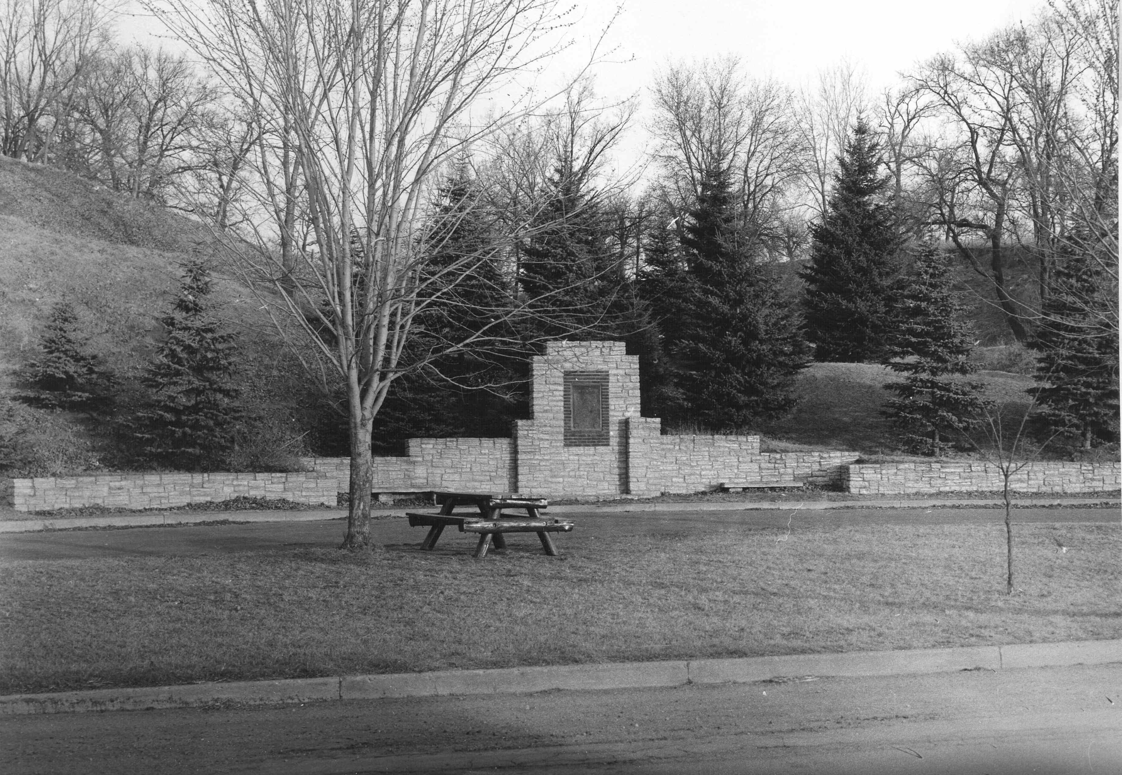 This Chaska Historic Marker first appeared in the 1940s. It is pictured here shortly after original construction in 1942.