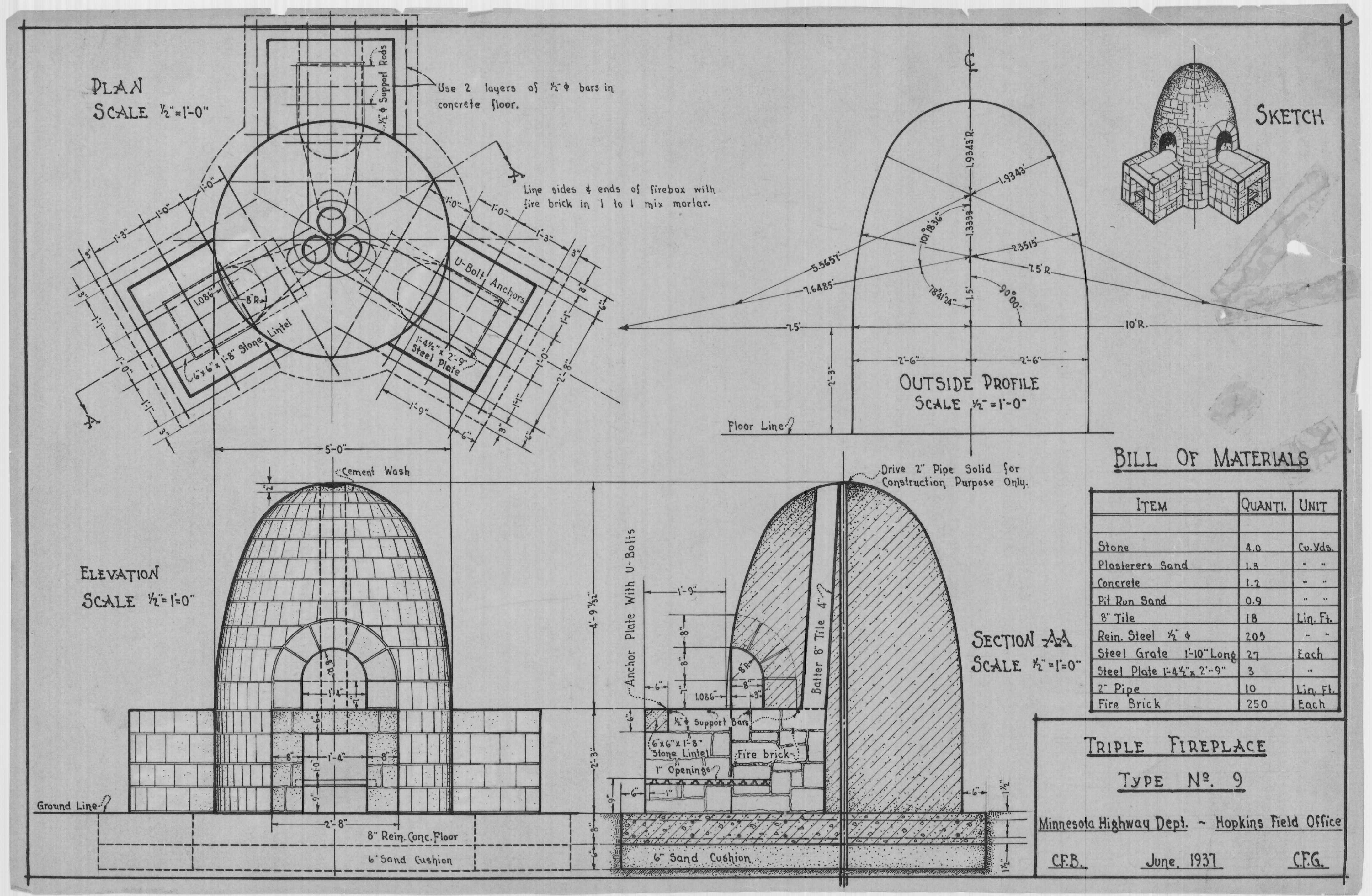 This original plan of a beehive fireplace was drawn in painstaking detail in 1937.