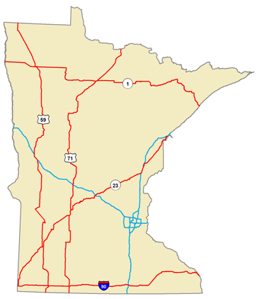Map of Minnesota showing trunk highways. The longest highways in Minnesota reach all corners of the state