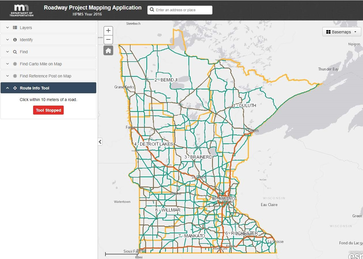 Preview of Roadway Project Mapping Application screen