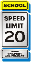 school speed limit 20 sign