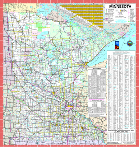 2015-2016 Minnesota State Highway Map