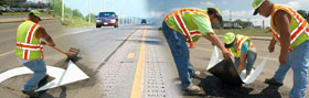 Collage of workers installing pavement markings