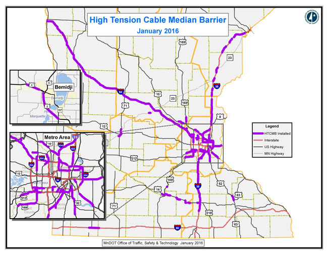 statewide high tension cable barrier map