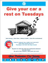 give your car a rest on tuesdays poster