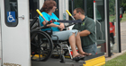 Bus and wheelchair