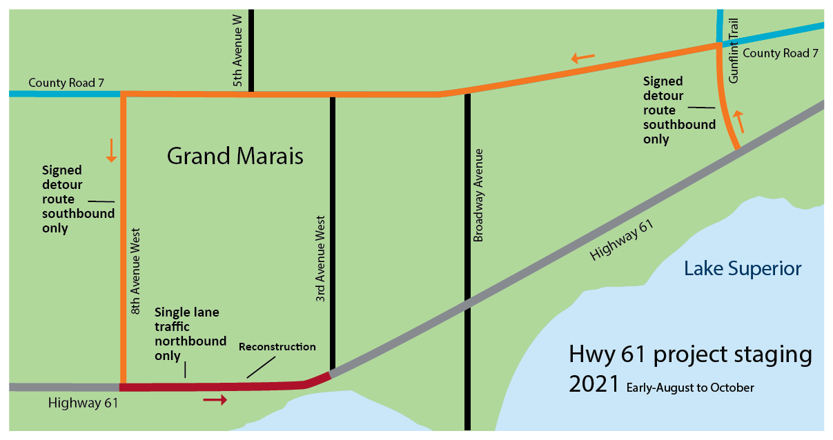 Map showing the project staging in 2020 from mid-May through October. Motorists may encounter a detour and single lane traffic.