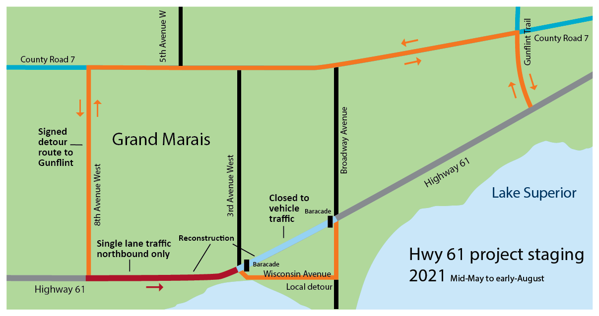 Map showing the project staging in 2020 from mid-May through October. Motorists may encounter a short detour, a longer detour and single lane traffic.