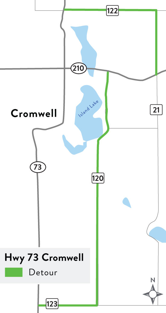 A rendering of the Hwy 73 detour in Cromwell.