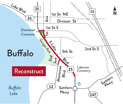 Hwy 25 map in Buffalo
