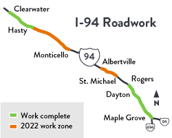 I-94 Maple Grove to Clearwater project map graphic
