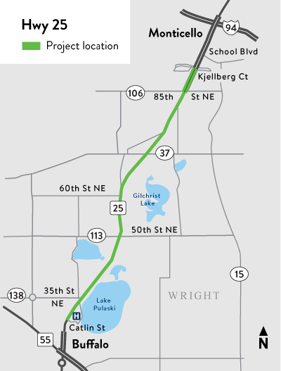 Hwy 25 project location map Buffalo to Monticello
