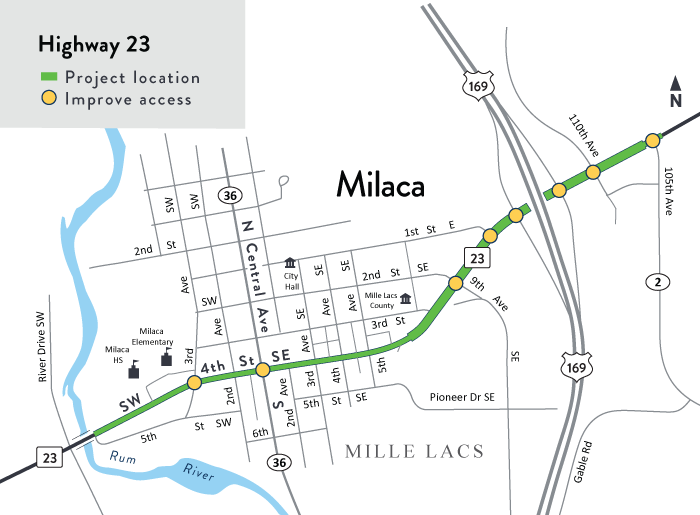 Hwy 23 Milaca project location map