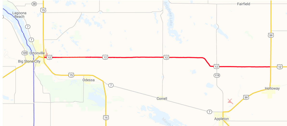 Highway 12 Ortonville to Highway 59 map
