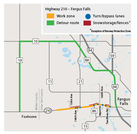 Highway 210 project map. Map shows work zone, starting from 1.8 miles east of the Wlkin and Otter Tail County line to just west of Interstate 94 near Fergus Falls. Detour route is County Road 19, County Road 10/16, County Road 88 and I-94.