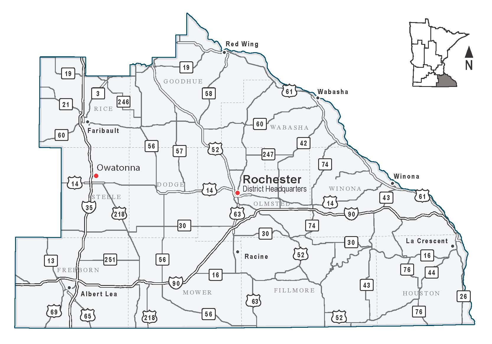 Map of MnDOT District 1, covering Northeast Minnesota.