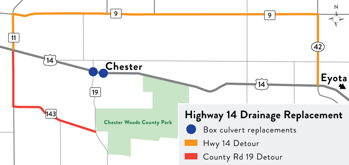 Hwy 14 in Chester map