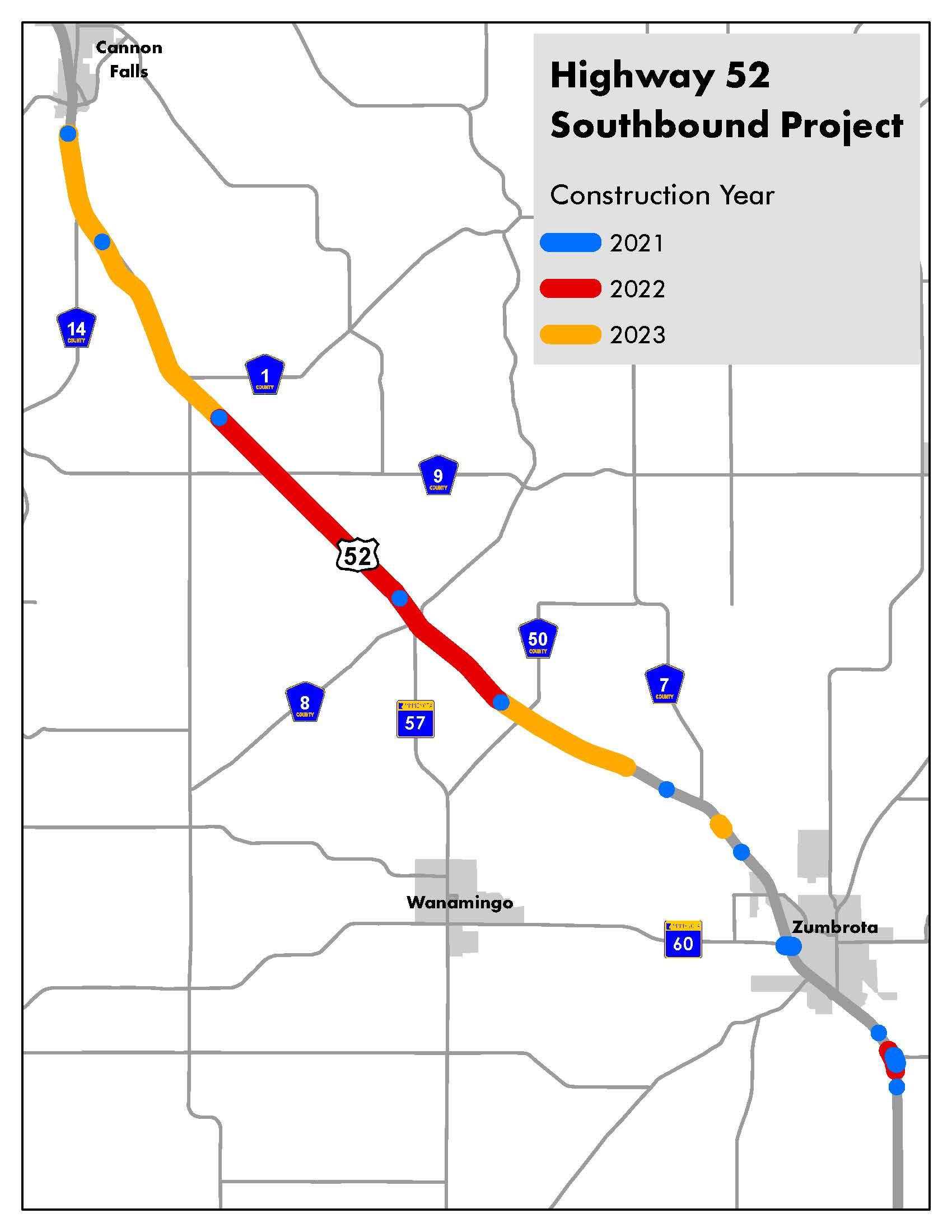 Hwy 52 southbound improvements project map