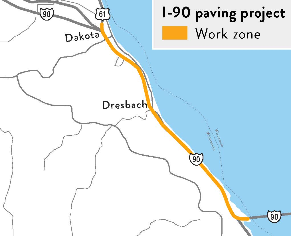 I-90 and hwy 61 Repaving map