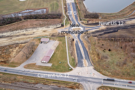 New roundabout at CR 5 and new US 12 with current US 12 in foreground.