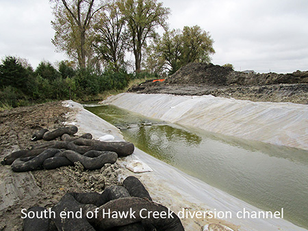 South end of Hawk Creek diversion channel