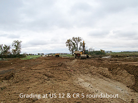 Grading at US 12 and County Road 5 roundabout