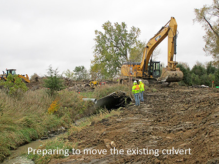 Preparing to move the existing culvert