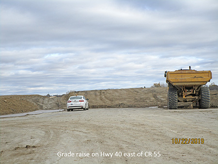 Grade raise on Hwy 40 east of CR 55