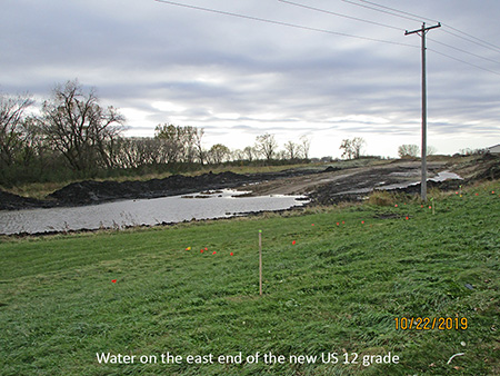 Water on the east end of the new US 12 grade