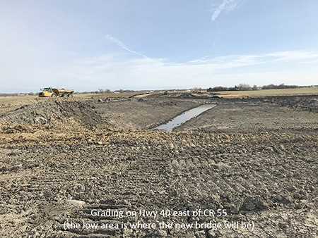 Grading on Highway 40 east of County Road 55 (the low area is where the new bridge will be)