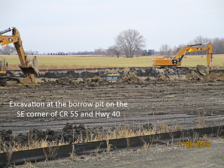 Excavation at the borrow pit on the southeast corner of county road 55 and Highway 40