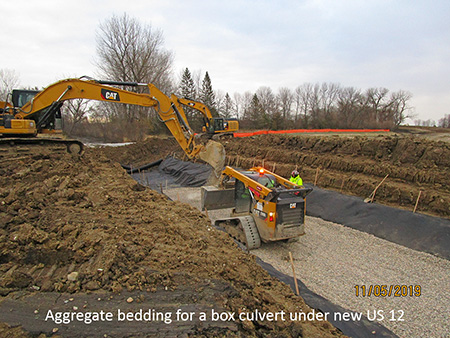 Aggregate bedding for a box culvert under new US 12