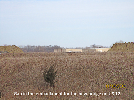 Gap in the embankment for the new bridge on US 12