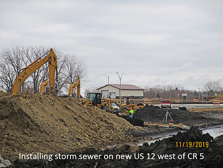 Installing storm sewer on new US 12 west of County Road 5