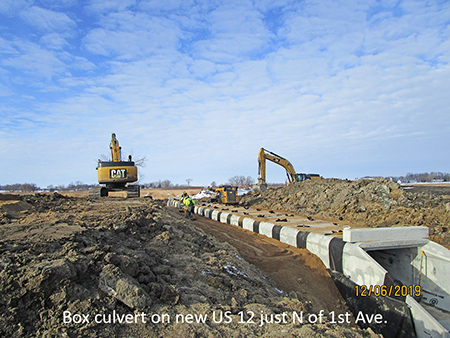 Box culvert on new US 12 just north of 1st Ave.