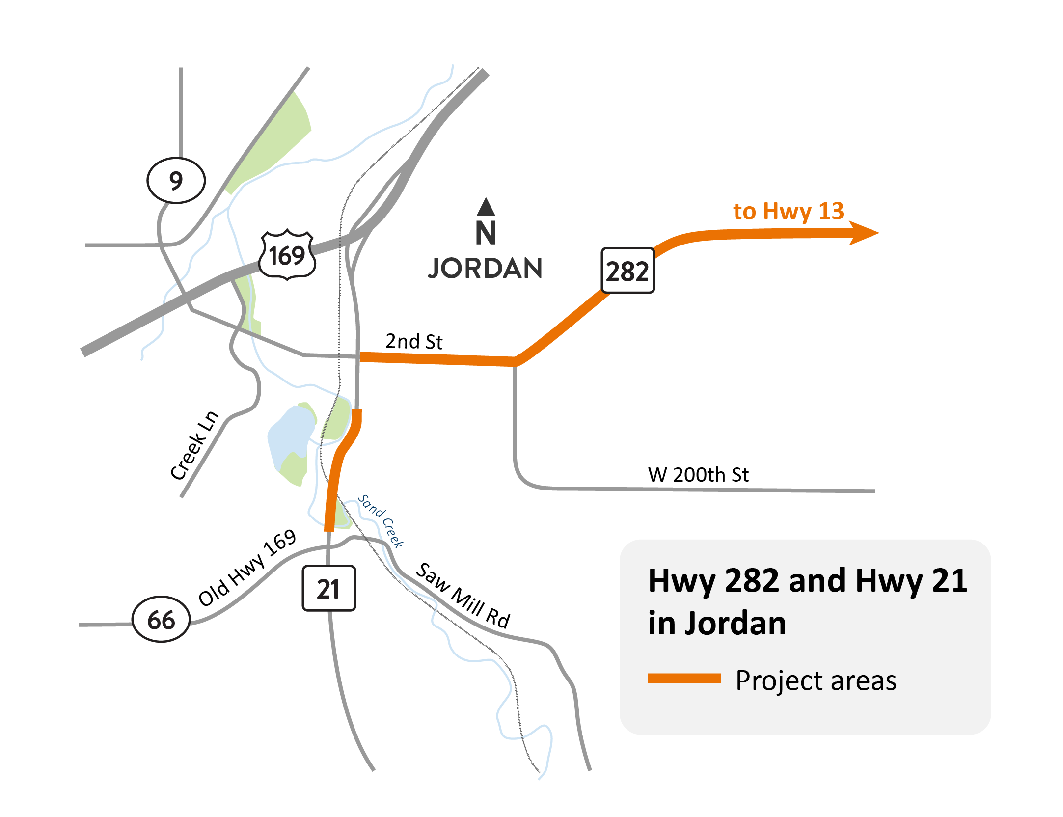 Hwy 21 in Jordan project location map