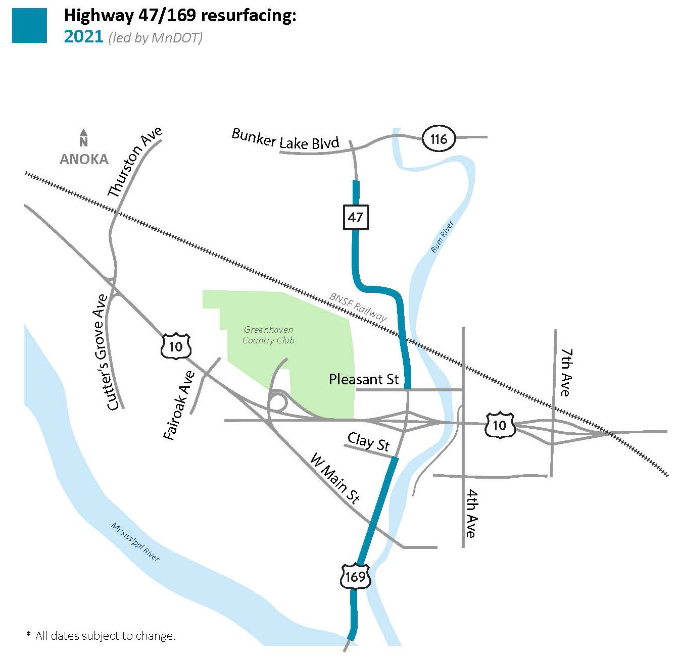 Hwy 47/169 Anoka and Ramsey project map