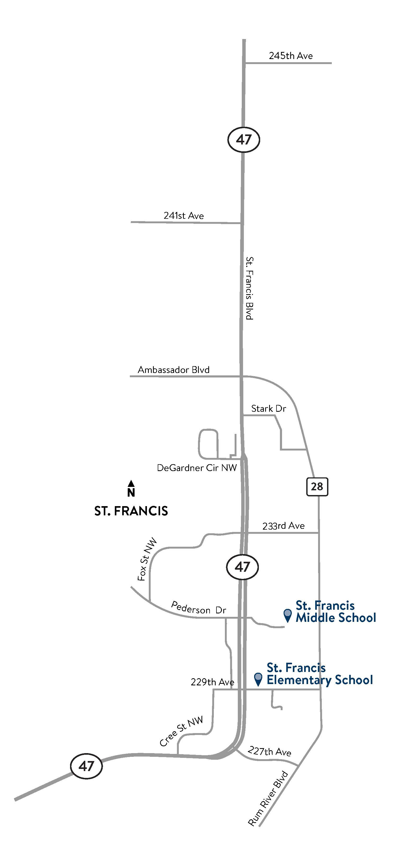 Hwy 47 St. Francis project map
