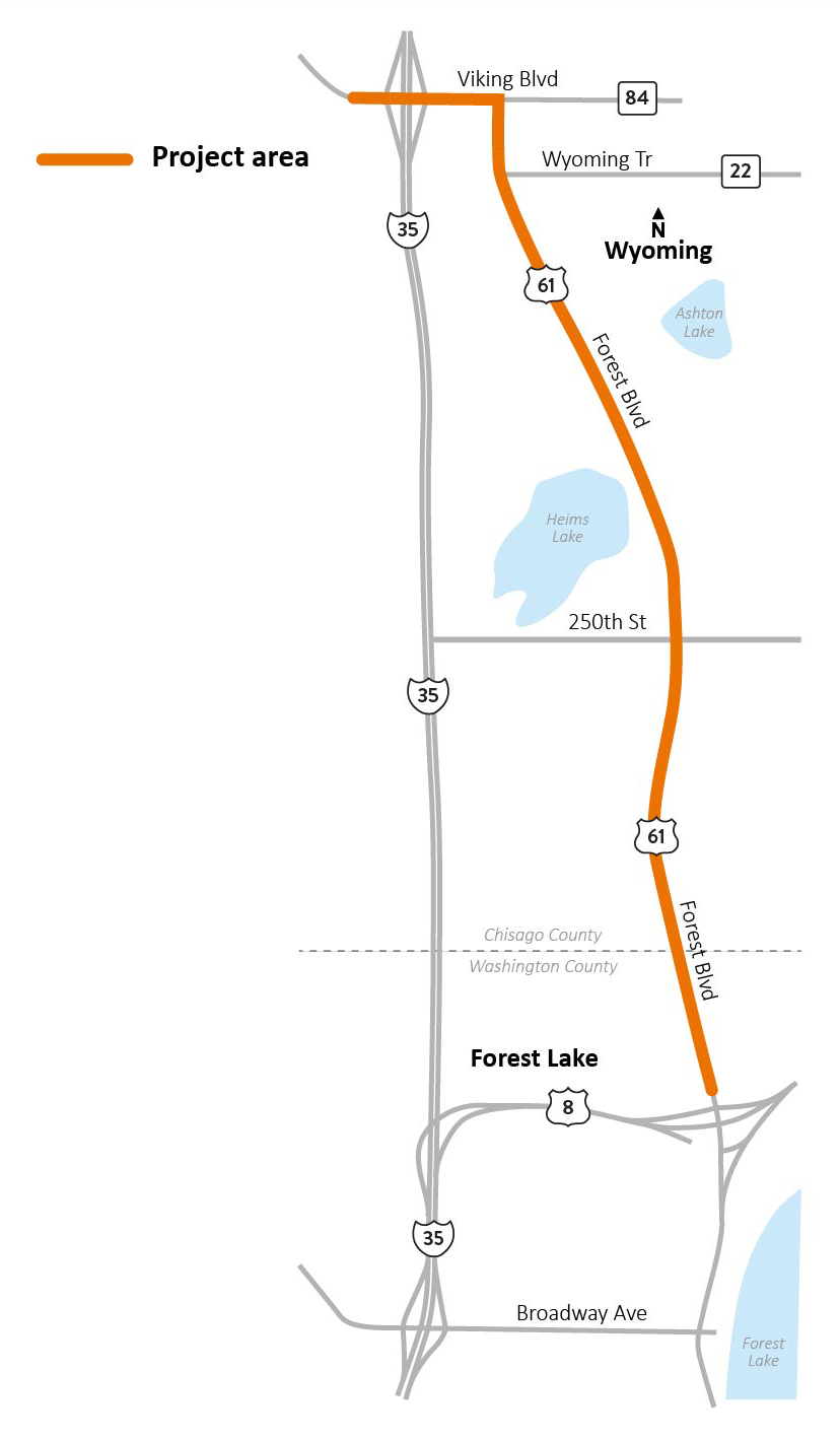 Map of Hwy 61 Forest Lake to Wyoming project area.