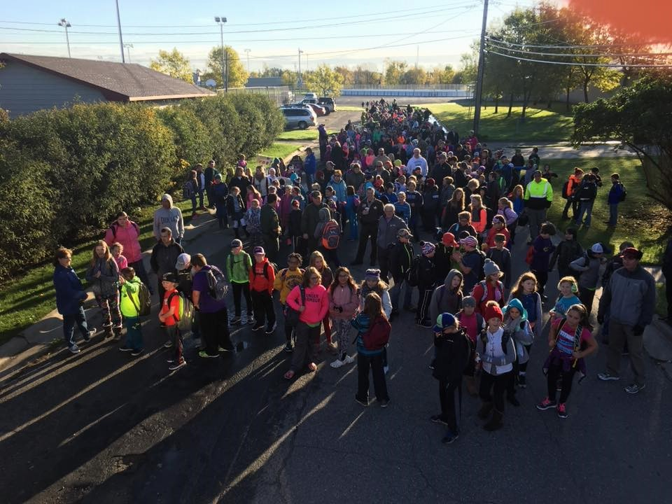 photo of students at walk to school day event