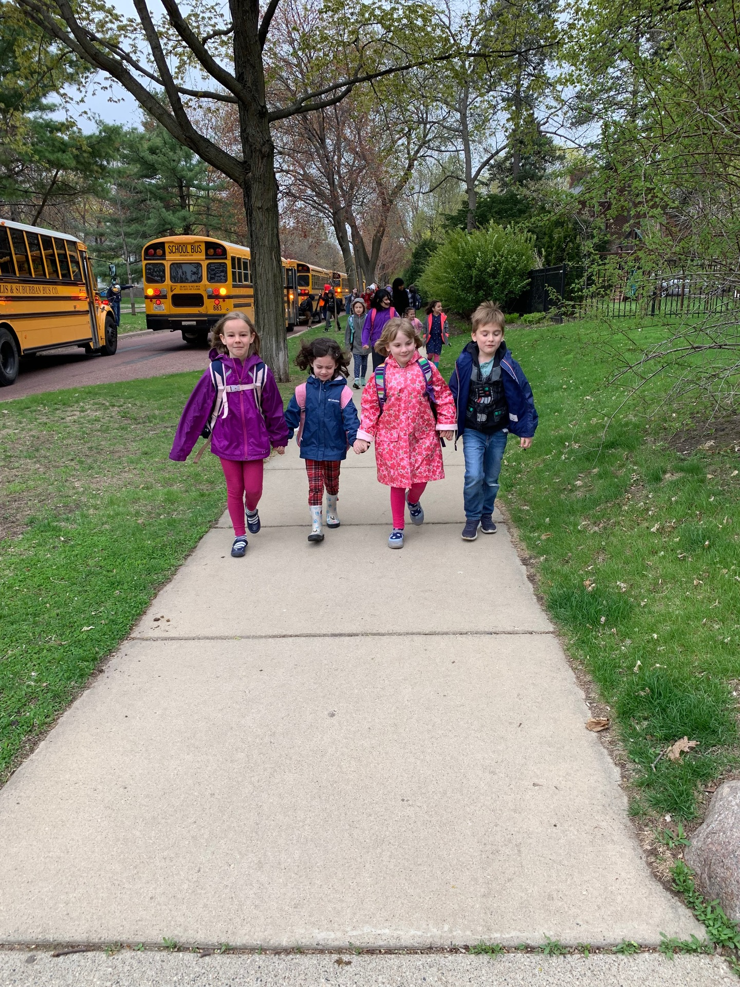 Four students walk hand-in-hand down the sidewalk. More students and school busses are in the background.